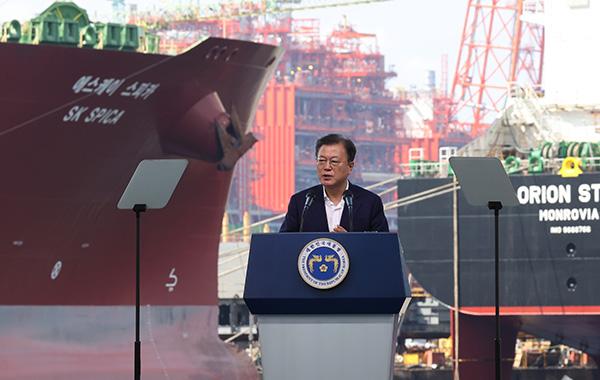 문재인 대통령이 9월 9일 경남 거제시 삼성중공업에서 열린 K-조선 비전 및 상생 협력 선포식에서 발언하고 있다.